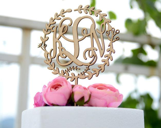 Wedding - Monogram Wedding Cake Topper, Rustic Wedding Cake Topper, Linden Wood Cake Topper, Personalized with Vine Font Initials 133