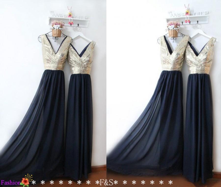 Navy prom dress navy bridesmaid dress light gold sequin for Wedding dress and reception dress