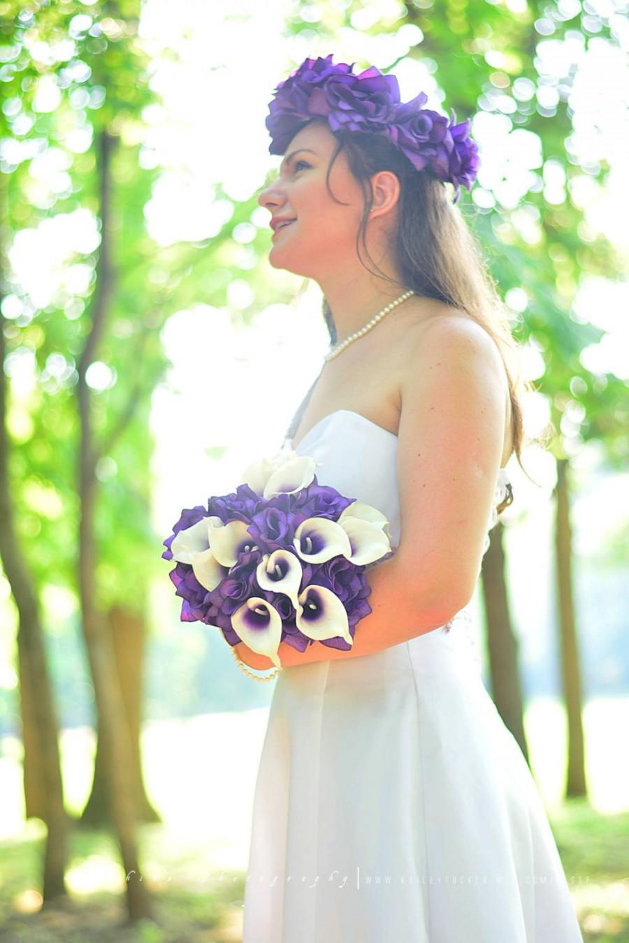 Wedding - Purple bridal bouquet - Purple silk bouquet - Round bouquet - Purple rose bouquet - Purple bouquet - Wedding bouquet - Bridesmaid bouquet