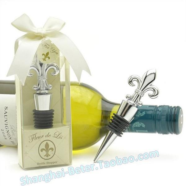 Wedding - groomsman France Souvenirs WJ079 Fleur de Lis Chrome Bottle Stopper