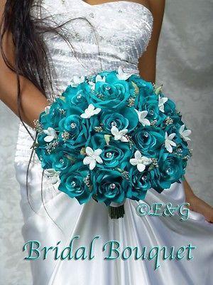 Свадьба - GORGEOUS ANGELINA TURQUOISE Wedding Bouquet Bouquets Bridesmaid Bridal Flowers