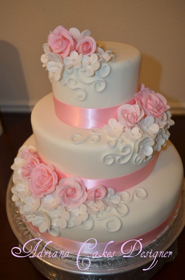 Cake Wedding Rose And White Birthday Cakes 2543941 Weddbook
