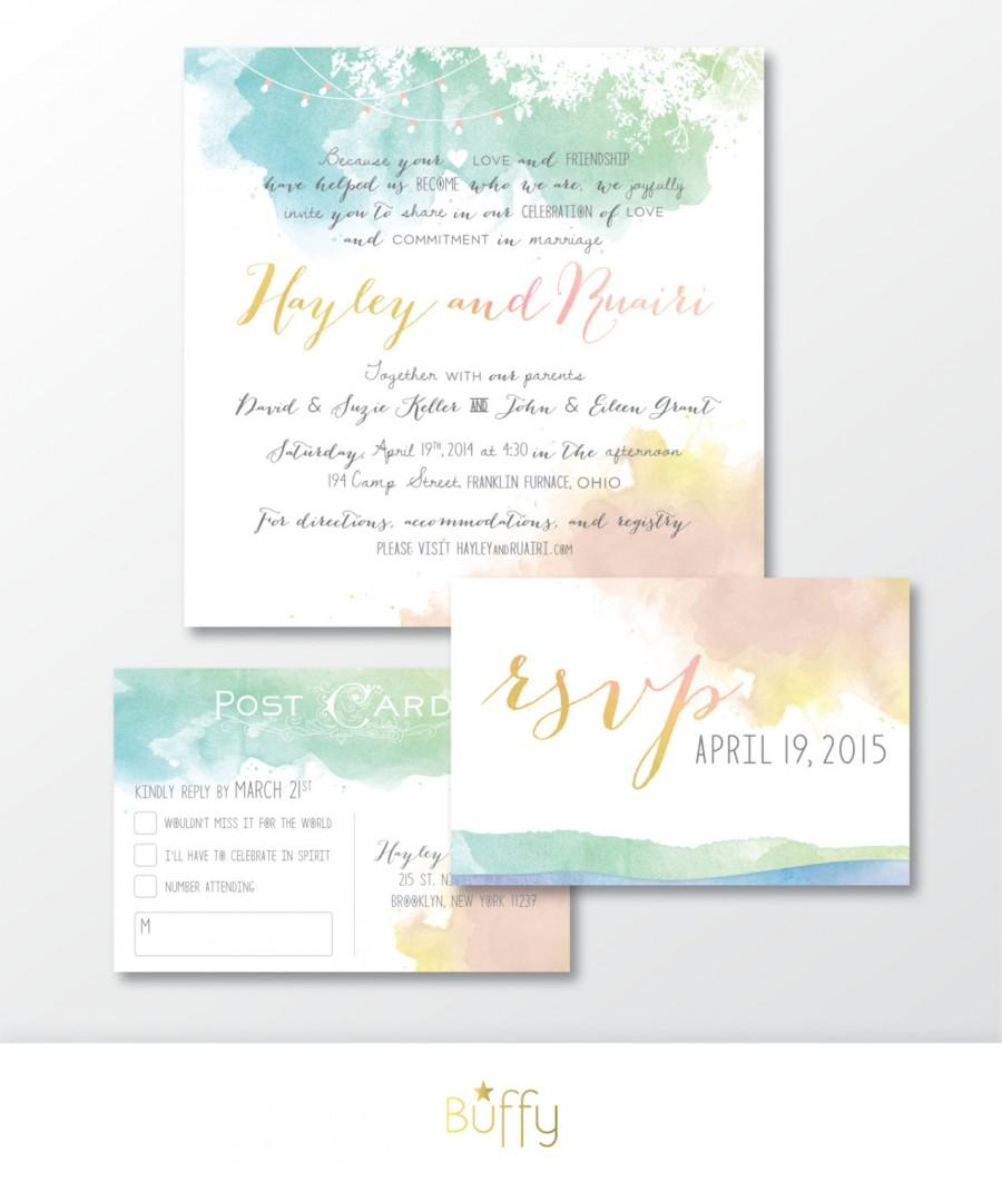 The HAYLEY . Watercolor Wedding Invitation & RSVP Postcard ...