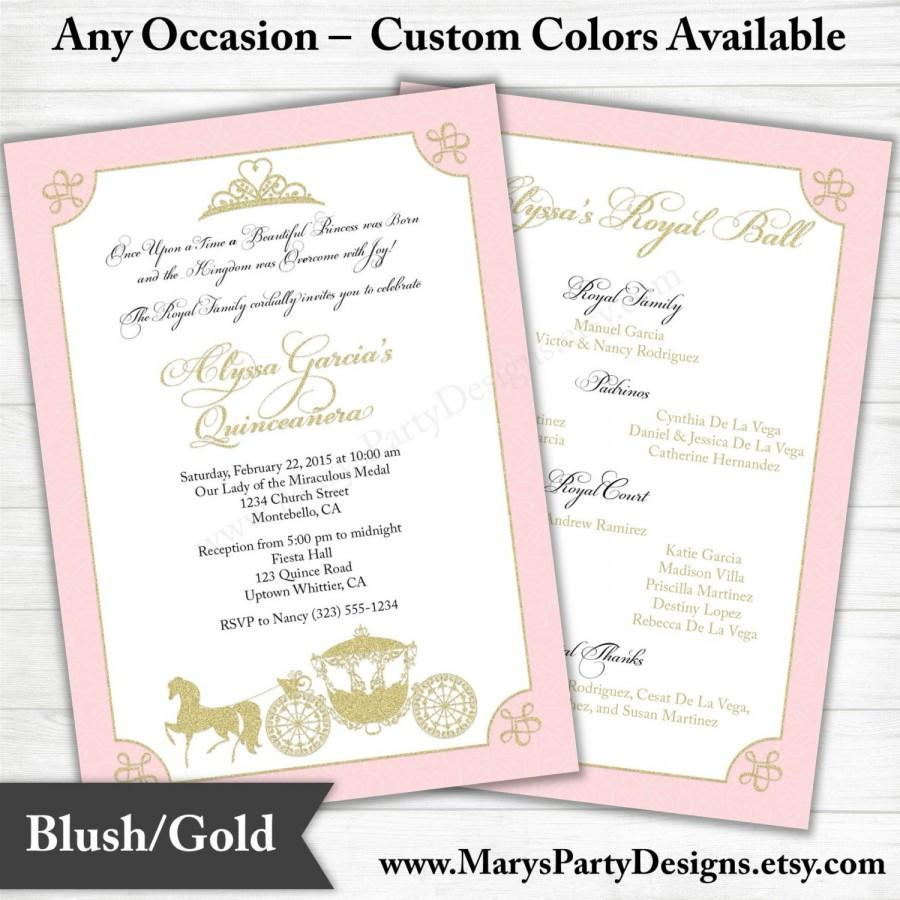 Quinceanera Invitation - Sweet 15 16 Birthday - Pink Gold - Princess ...