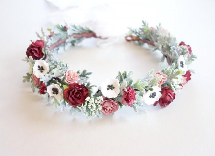 bd52b855ef6e Bridal Flower Crown, Floral Headpiece, Marsala Wedding, Flower Crown, Boho  Wedding, Bridal Crown, Flower Headdress, Head Wreath, SERENDIPITY