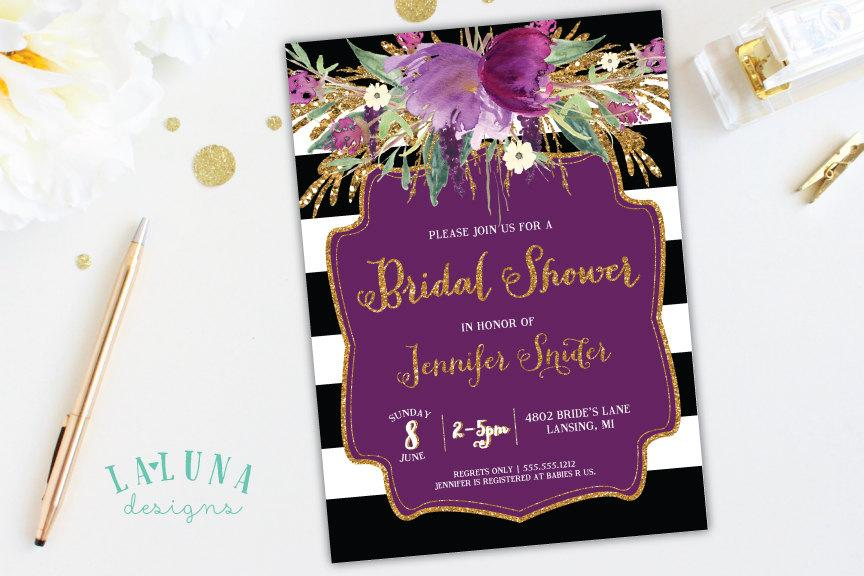 bridal shower invitation floral black white stripe bridal shower invite gold glitter bridal shower purple floral invitation printable