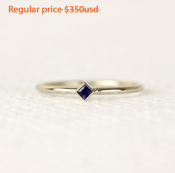 Hochzeit - ON SALE - 20% OFF Princess Cut Natural Sapphire Ring In 14k White Gold,Thin Band,Simple Engagement Ring,Stacking Gold Ring