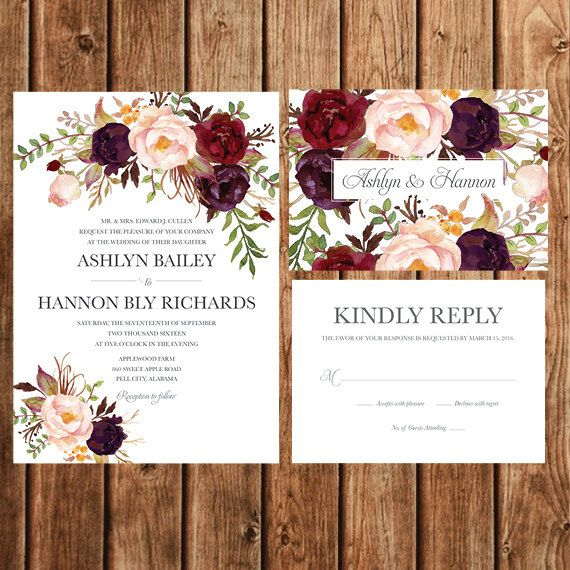Bohemian Wedding Invitation Fall Wedding Invite Red Purple – Floral Wedding Invitations
