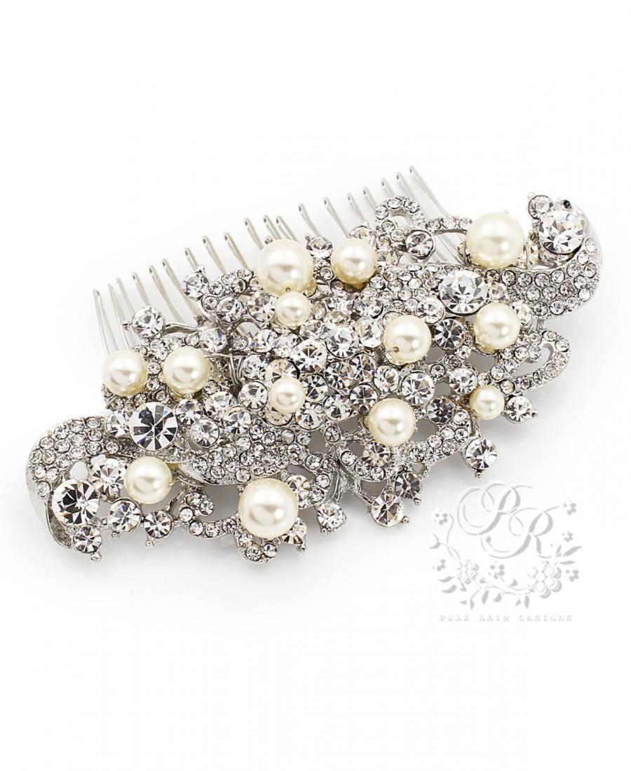 Mariage - Wedding Hair Comb Swarovski Pearl Rhinestone Hair Comb Wedding Jewelry Bridal Jewelry Hair accessory Bridal Hair Comb Wedding Accessory Ivy