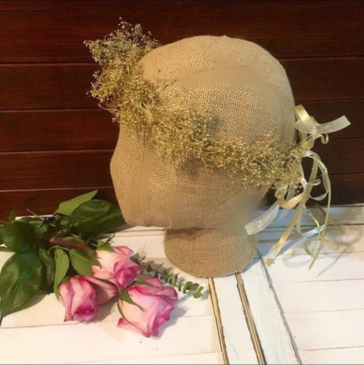 Mariage - Gold floral Crown gold baby's breath Flower crown halo crown Wedding crown Floral headband fairy crown Wedding Crown floral headband