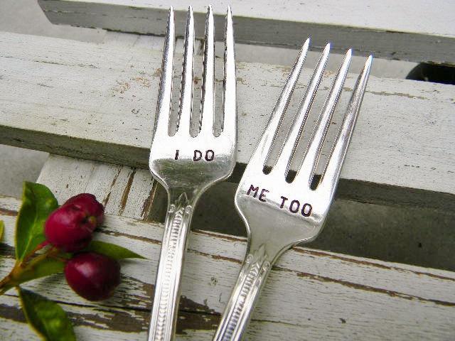 Wedding - I Do Me Too Forks For Your Wedding Cake. Vintage Silver Plate.