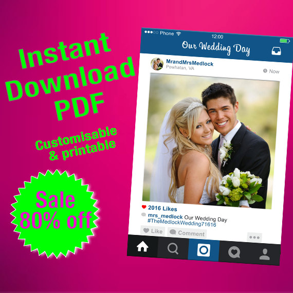 Instagram Frame PDF Fully Customised, Photo Booth Prop, Personalised ...