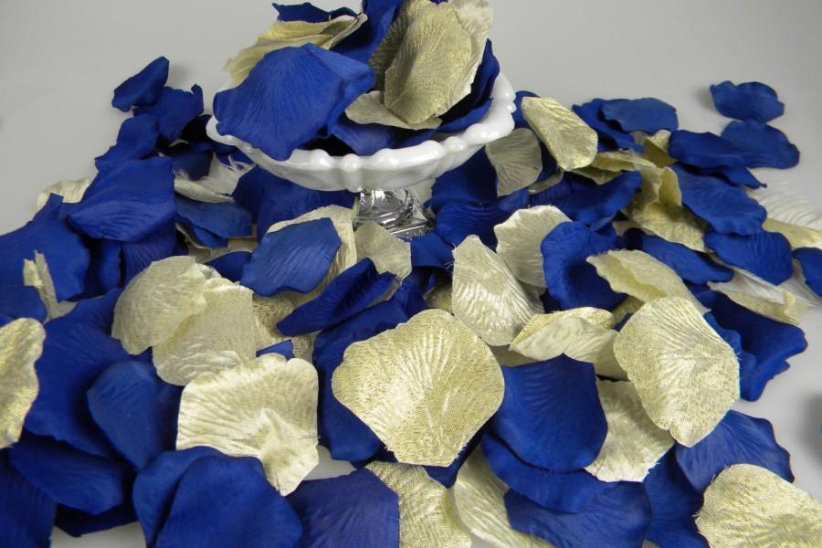 Wedding - 200 Gold & Royal Cobalt Blue Rose Petals