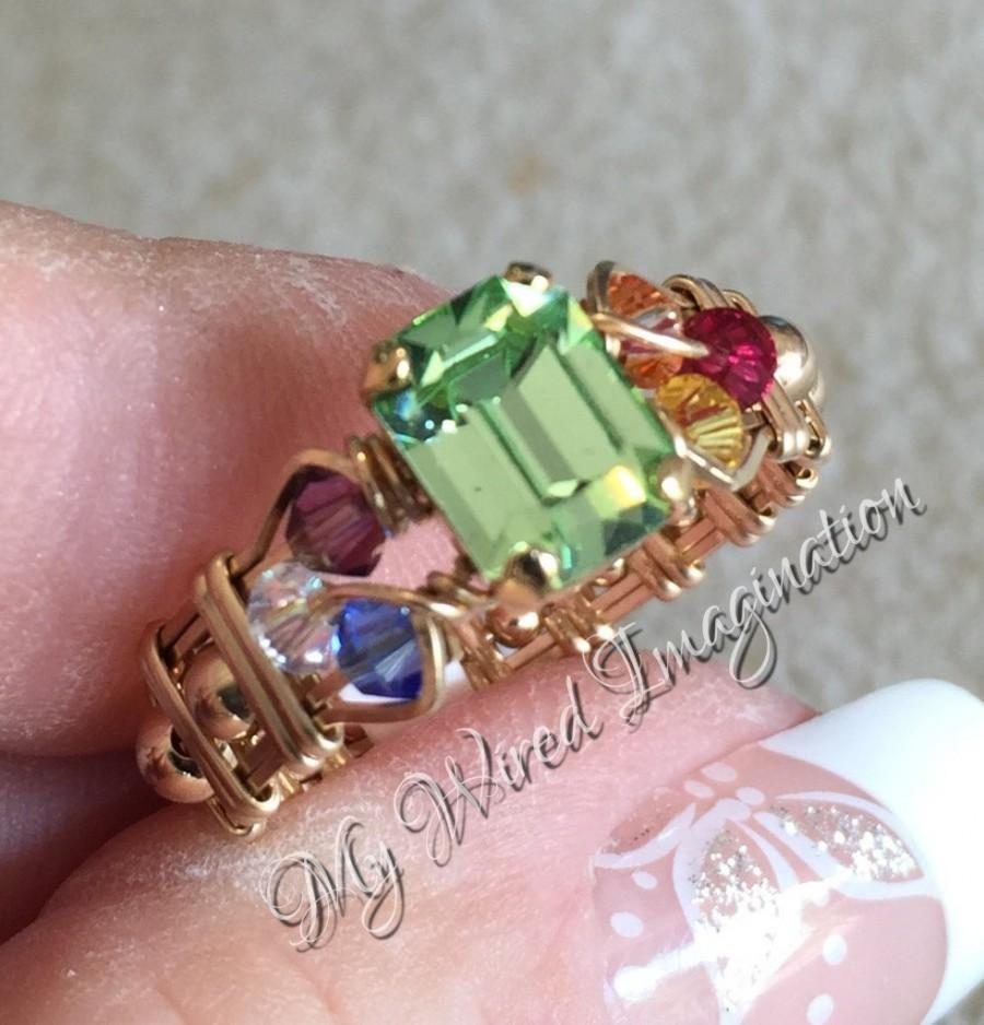 Hochzeit - Crystal Chakra Ring, Vintage Swarovski Chrysolite, 7 Chakra Healing Colors, Handmade Wire Wrapped Ring, Unique Engagement Ring Handmade Ring