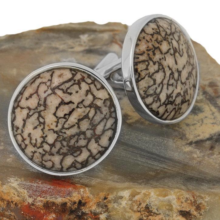 زفاف - Men's Cuff-links, Dinosaur Bone Cuff Links on Sterling Silver Mounts, Mens Wedding Cuff Links