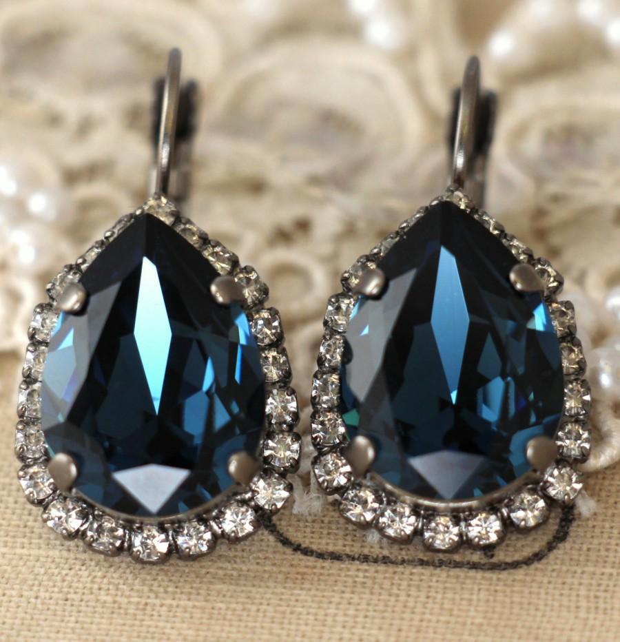 Blue Navy Earrings Swarovski Dark Drop Crystal Wedding Jewelry Bridesmaid