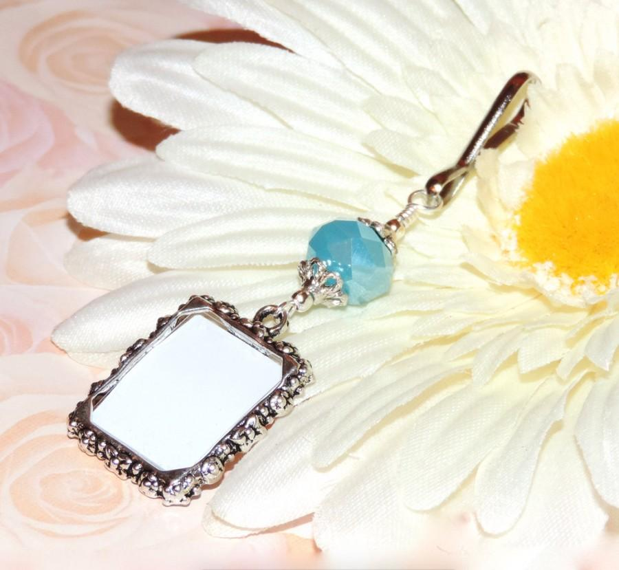Mariage - Wedding bouquet photo charm. Something blue - Light blue crystal & Small picture frame. Bridal bouquet charm. Memorial photo.