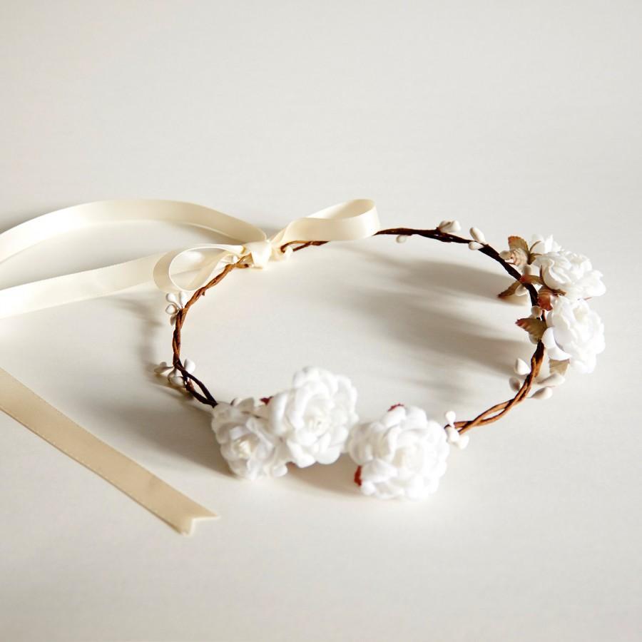 Mariage - Handmade Flower Crown, Floral Crown, Wedding Flower Crown, Flower Girl Flower Crown, Bridal Headpiece