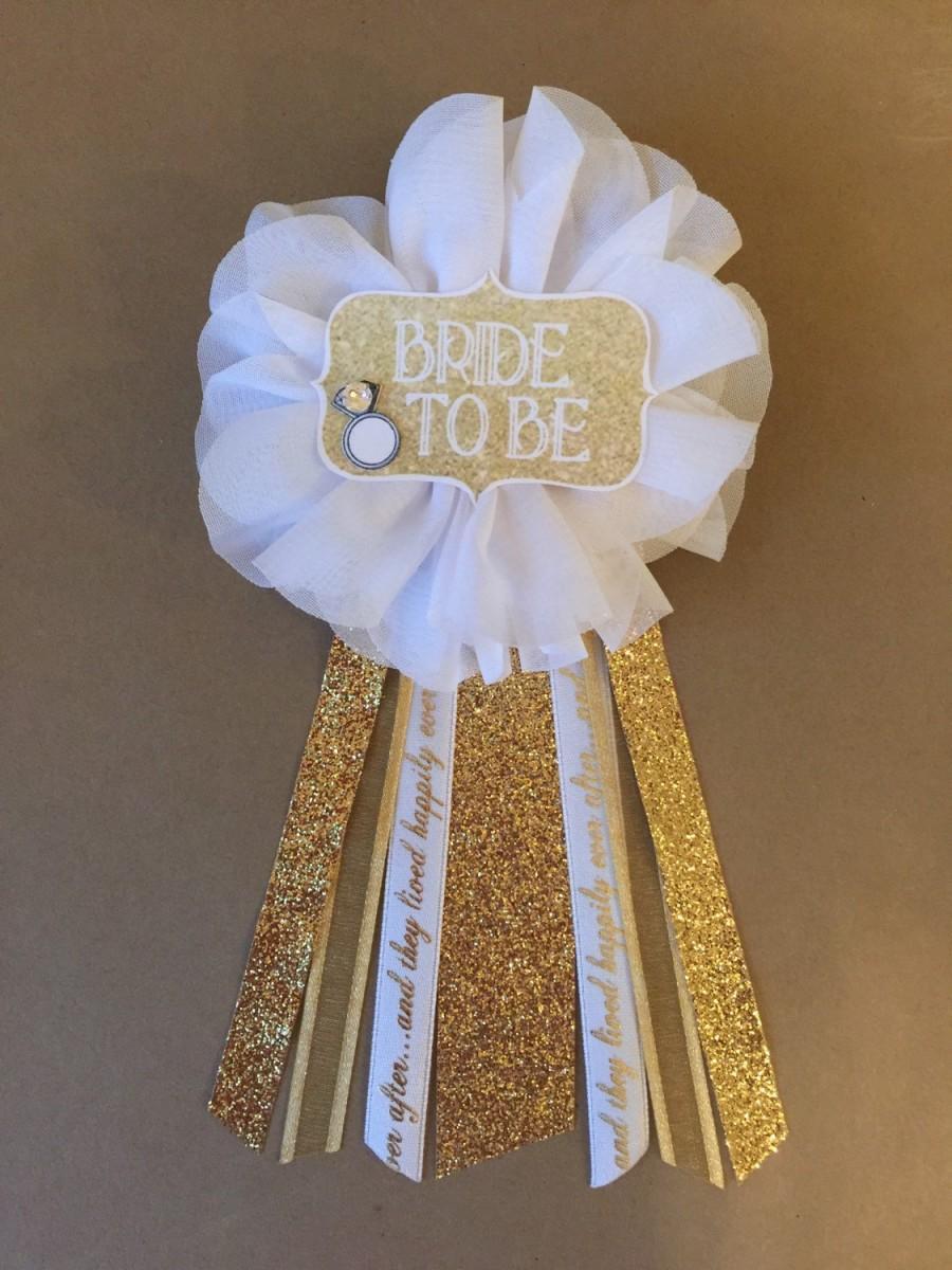 bride to be flower ribbon pin gold white glam corsage glitter rhinestone bride ring bling wedding bridal shower pin