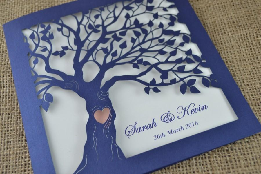Laser Cut Invitation, Rustic Wedding Invitation, Laser Cut Tree Invitation  With Envelope