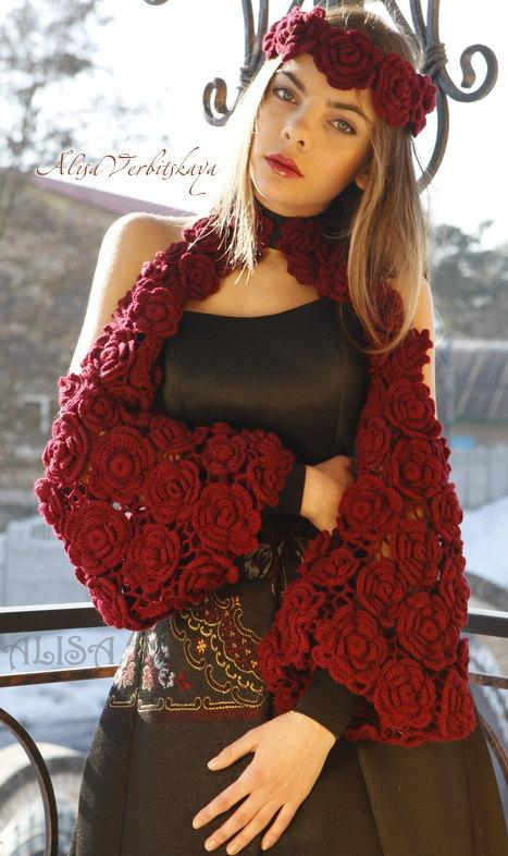 Mariage - Bolero, wreath, rose, Marsala, Irish crochet. handmade bolero, handmade clothing, hand made cardigan,