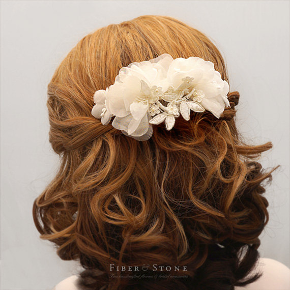 Wedding - Lace Flower Comb, Silk Bridal Hairpiece, Ivory Bridal Head Piece, Flower Wedding Comb, Bridal Flower Comb, Swarovski Pearl Wedding Comb
