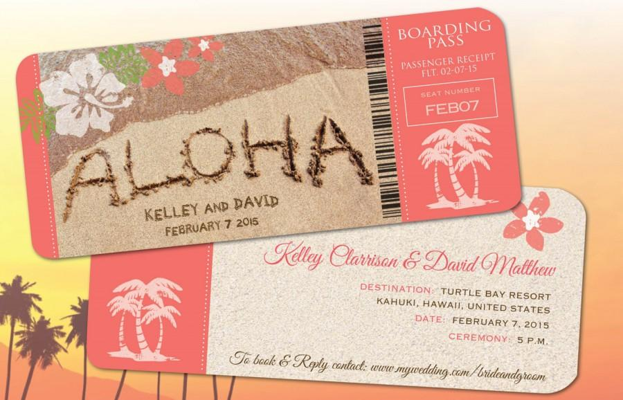 Hawaii Wedding Boarding Pass Save The Date Invitations
