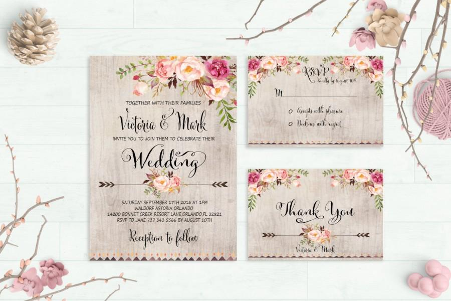 Hochzeit - Floral Wedding Invitation Printable Wedding Invitation Suite Rustic Wedding Invite Boho Wedding Invite Peonies Wedding Invite Digital File