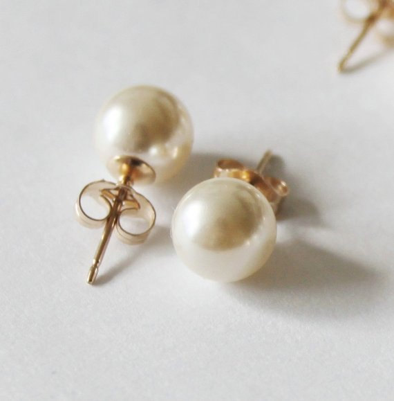 6mm 8mm 10mm Swarovski Ivory Pearl Studs 14k Gold Earrings Bridesmaid White Or Stud Bridal Gifts