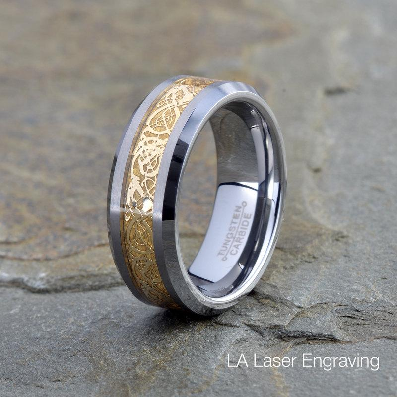 Tungsten Carbide Wedding Band 8mm Yellow Gold Plated Dragon