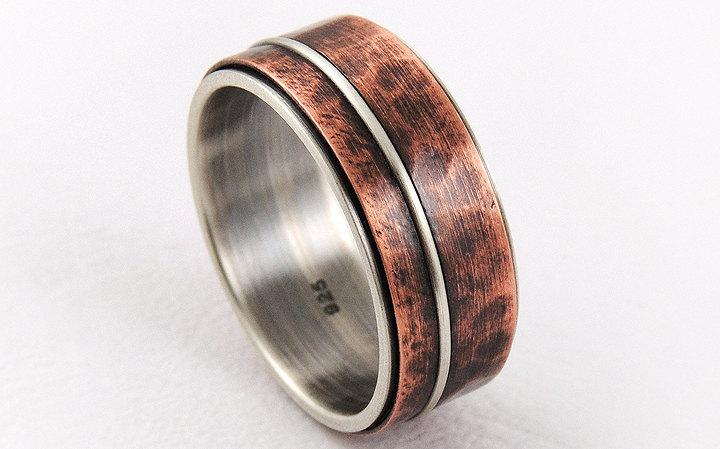 Mixed Metal Mens Wedding Ring Silver Copperanniversary Ring