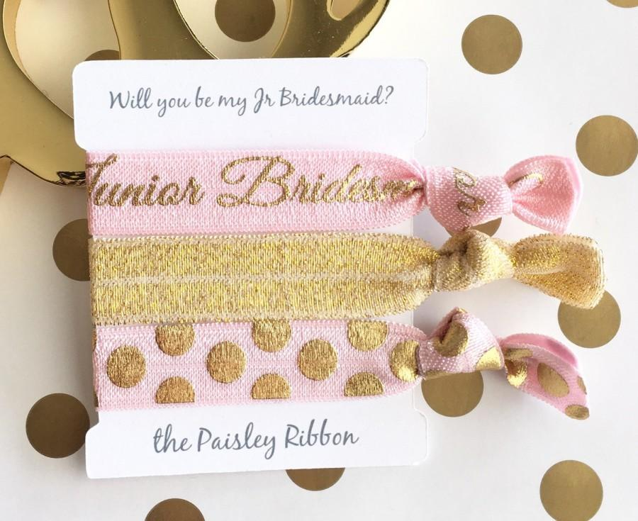 Mariage - Pink and gold Will you be my Junior Bridesmaid hair tie set with display card, jr bridesmaid gift, jr bridesmaid favor, jr bridesmaid bag