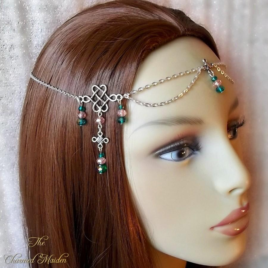 Wedding - Beaded Silver Celtic Circlet, Renaissance Circlet, Medieval Headpiece, Celtic Headdress, Medieval Bride, Head Chain, Pink & Green Glass