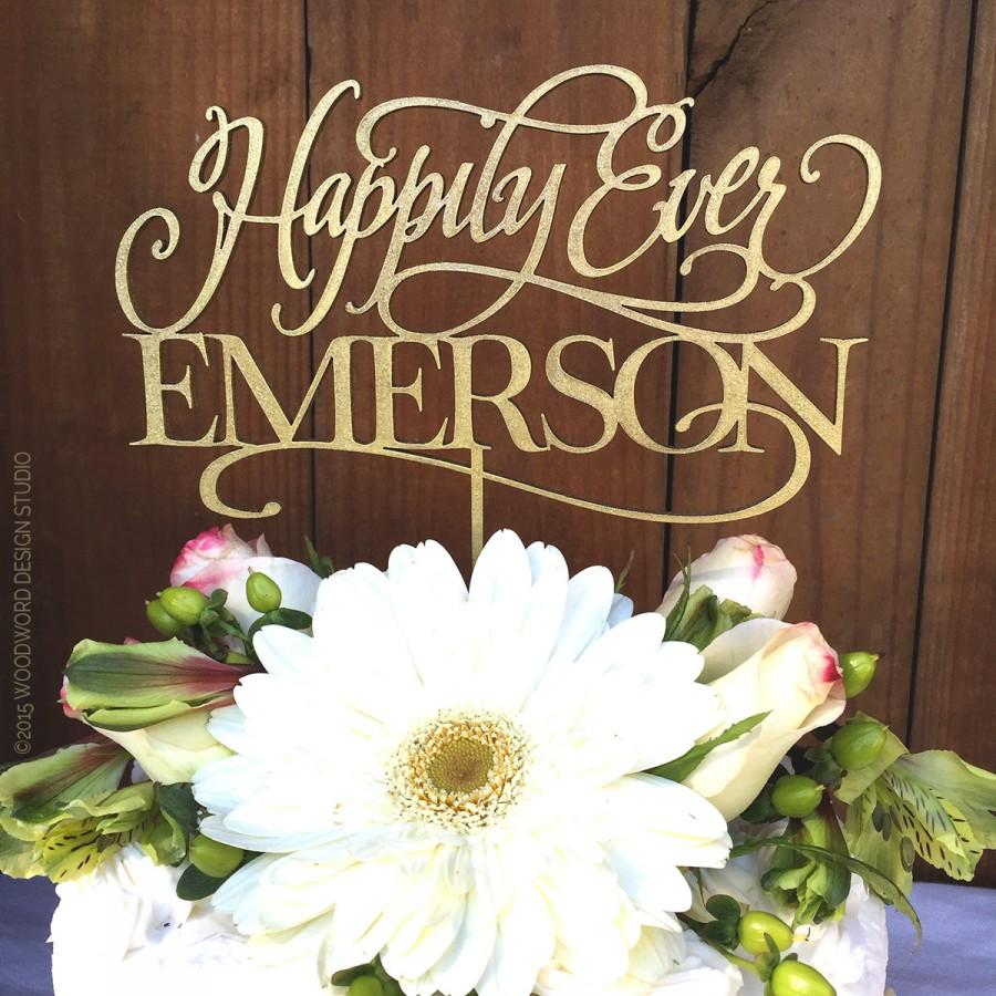 Mariage - Wedding Cake Topper, Happily Ever with Last Name, Custom Cake Topper, Personalized Cake Topper