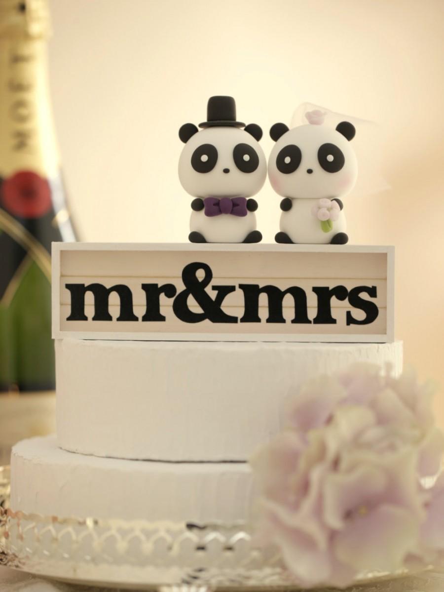 Wedding - Panda Wedding Cake Topper---k927