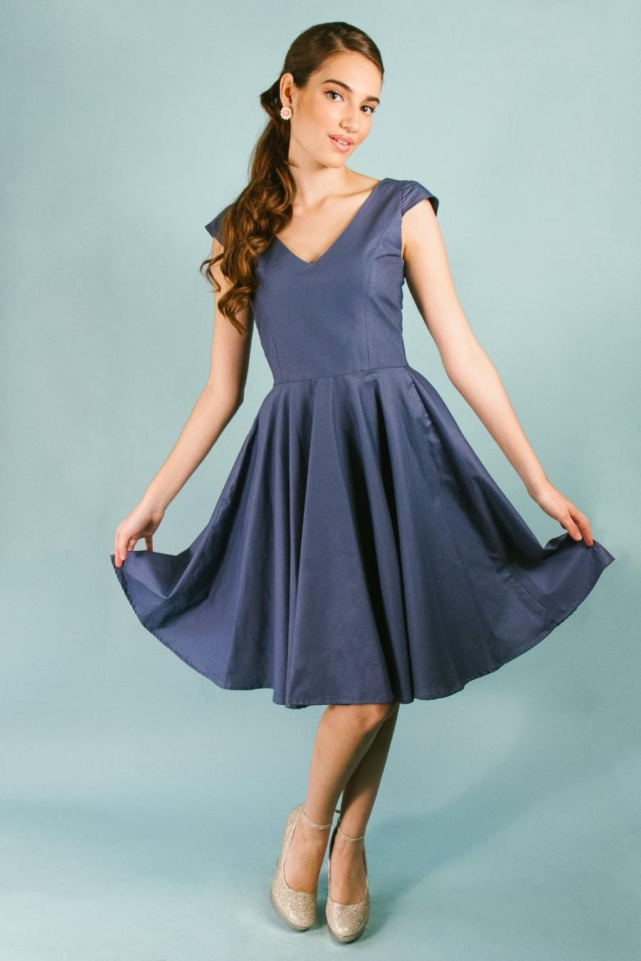 Navy Cotton V-neck Cap Sleeve Knee Length Fit And Flare Dress With ...