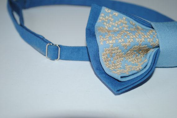 Hochzeit - Embroidered bow tie Blue Light sky blue bowtie Groomsmen bow ties Men's bowtie Bow tie Gifts for dad Casual style Boys bowtie Bridesman gift