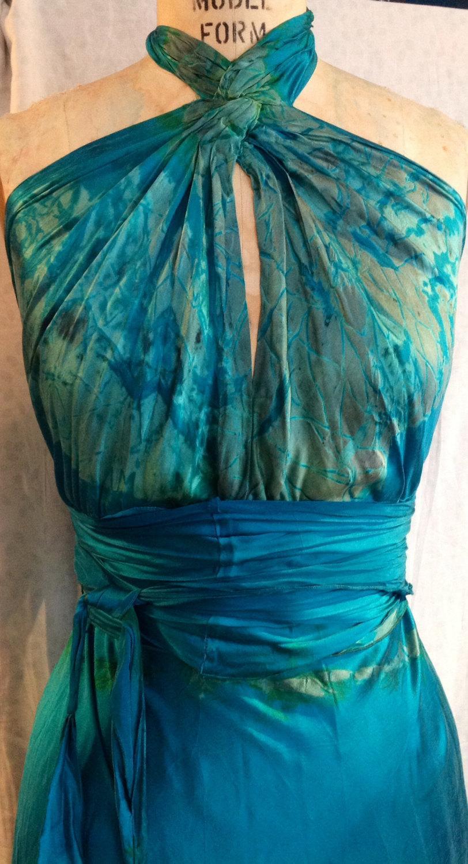 Aqua blue turquoise green silk nicole ritchie wedding dress with aqua blue turquoise green silk nicole ritchie wedding dress with sash by momosoho boho chic bridal drsses bridesmaid boho dress hippiemaxi ombrellifo Choice Image