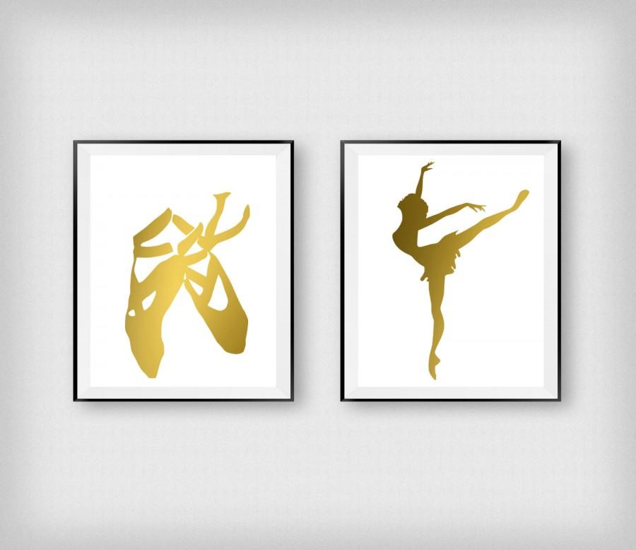Ballet Wall Art ballerina print, ballet shoes print, gold foil, dancer wall art