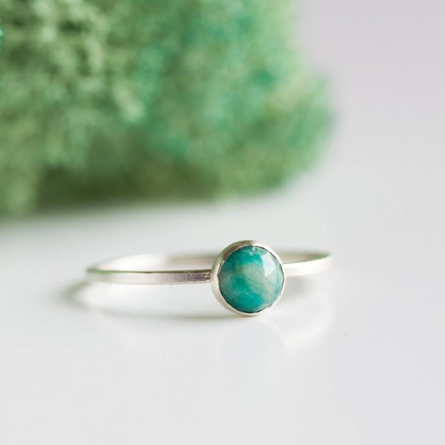 Hochzeit - Simple silver ring with faceted amazonite gemstone