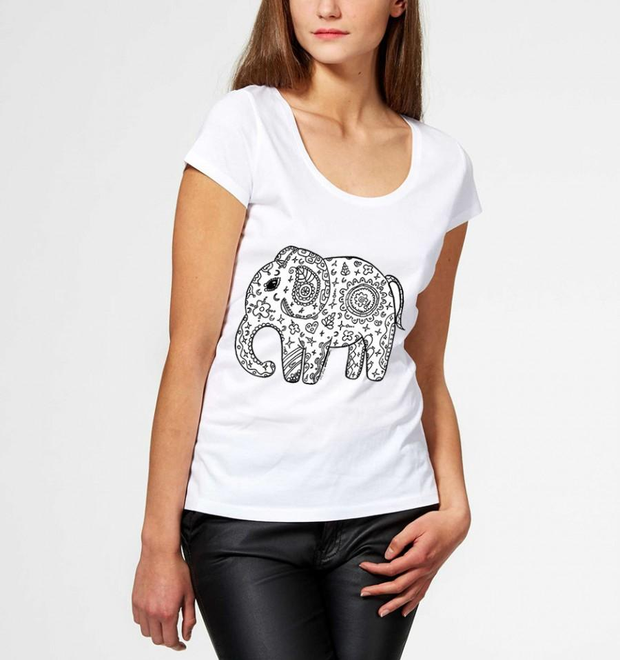 Wedding - Tshirt little elephant zentangle design woman print top sweet zen spiritual yoga fitness girl animal black and white abstract summer africa