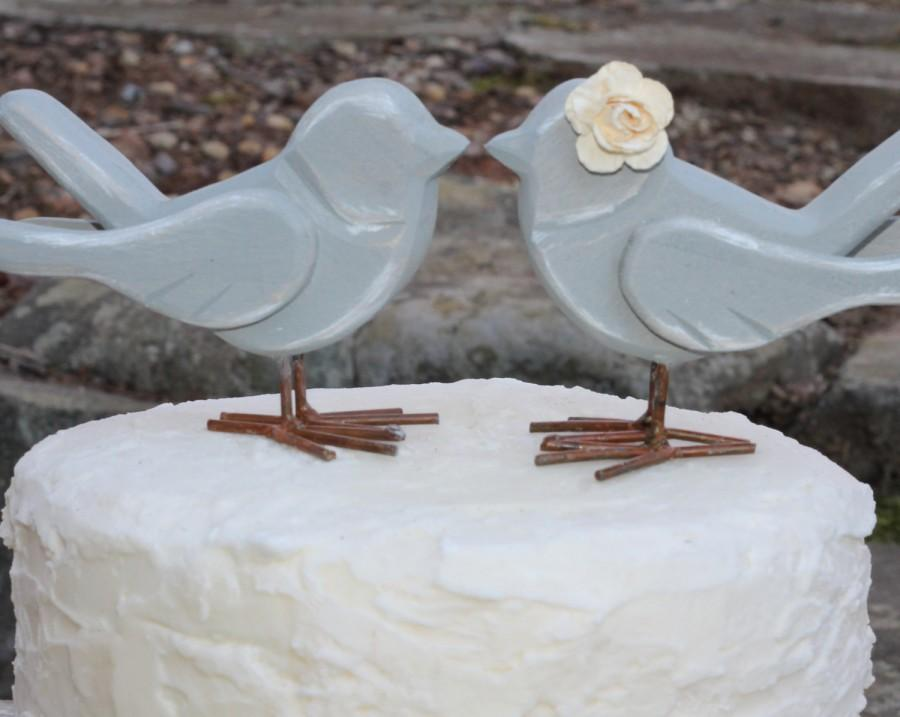 Wedding - Love Bird Cake Toppers Rustic Shabby Chic Weddings Custom Color
