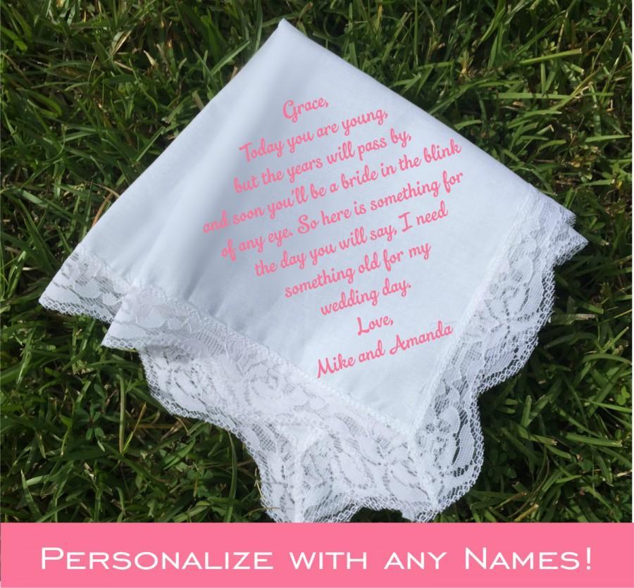 Hochzeit - Flower Girl handkerchief, flower girl gift, wedding handkerchief PRINTED lace handkerchief, personalized handkerchief, wedding gifts (H 005)