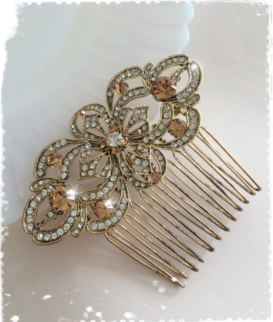 """Hochzeit - 1920s Art Deco Great Gatsby Inspired Crystal Gold Comb Wedding Hair Accessory-Vintage Bridal Gold Crystal Comb Headpiece-""""ANAIS glam"""""""