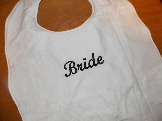 Hochzeit - Bride Clothing Protector, Bridal Shower Gift, Gag Gift, Groom Gift, Bachelor Gift, April Fools Gift, Personalized Adult BIb