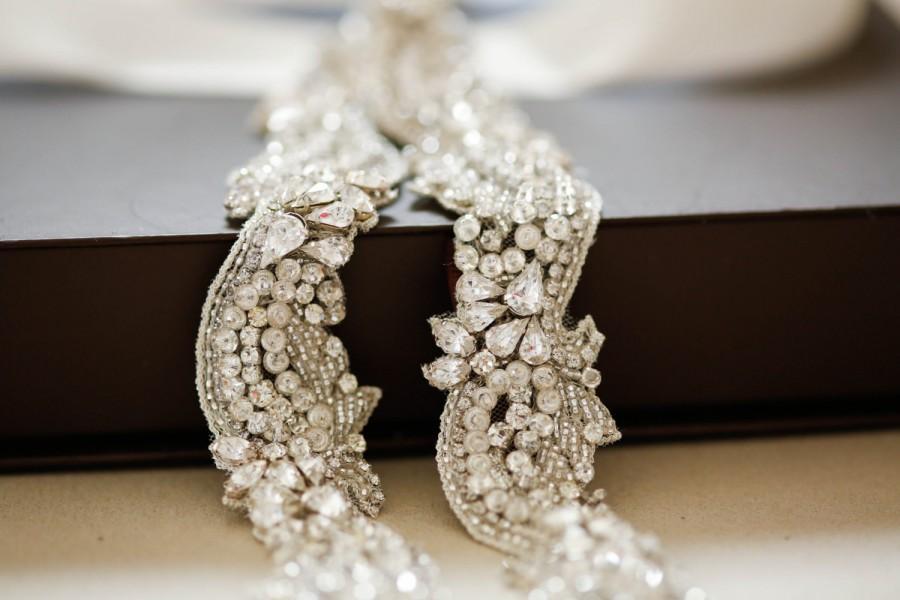 Hochzeit - Narrow beaded crystal belt for bridal dress - S37