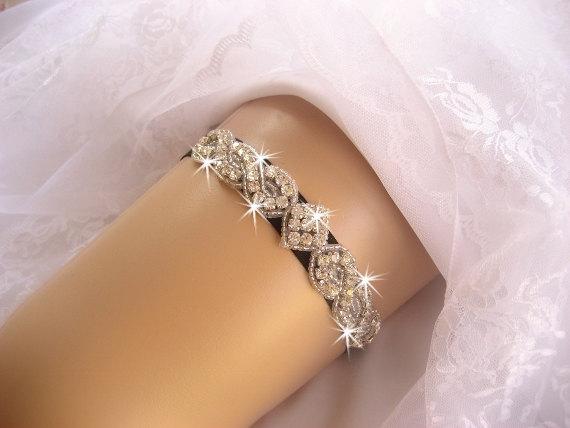 Свадьба - Prom Garter / Wedding Garter /  Black Garter / Rhinestone Garter / Crystal Garter / Toss Garter / Garter Belt / Garder