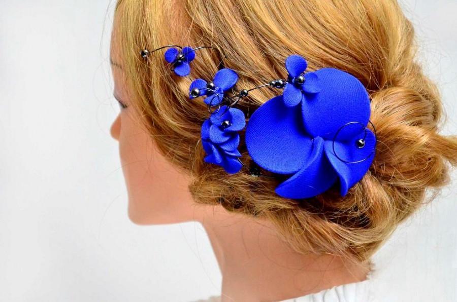 Royal blue hair clip Romantic headpiece blue Hair jewellery Bridesmaid hair  piece Wedding fascinator Hair comb flower hair pin d6e4248cc75