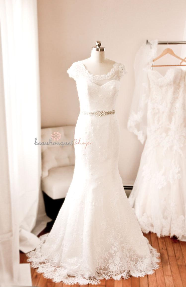French lace wedding dress beaded french chantilly lace for Beaded low back wedding dress
