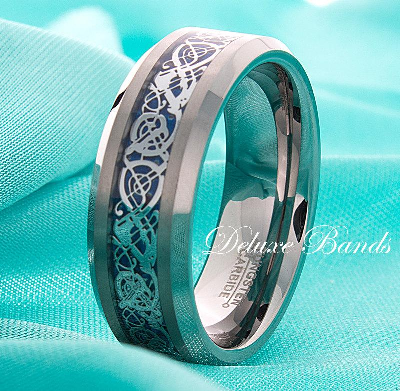 Celtic Dragon Tungsten Band Blue Celtic Dragon Tungsten Ring Mens